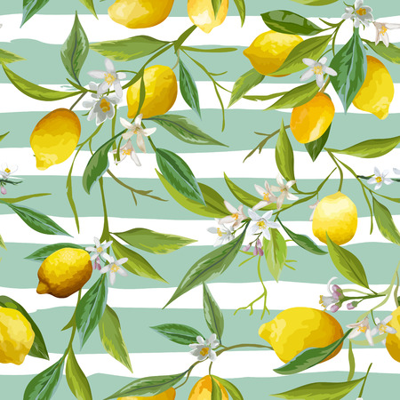 Seamless Pattern. Lemon Fruits Background. Floral Pattern. Flowers, Leaves, Lemons Background. Vector Background. 向量圖像
