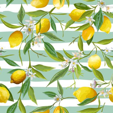 Seamless Pattern. Lemon Fruits Background. Floral Pattern. Flowers, Leaves, Lemons Background. Vector Background. Illustration