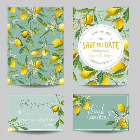 La tarjeta de fecha. Limón, hojas y flores. Tarjeta de boda. Tarjeta de invitación. RSVP. Vector