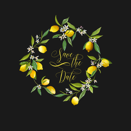 date fruit: Save the Date. Lemons and Flowers Card. Fruit Background. Wedding Invitation. Vector Card.