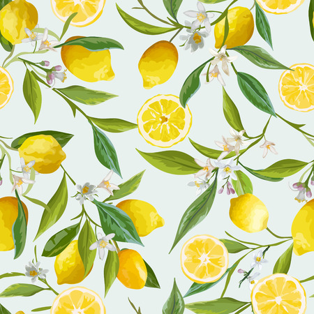 Seamless Pattern. Lemon Fruits Background. Floral Pattern. Flowers, Leaves, Lemons Background. Vector Background. Ilustracja