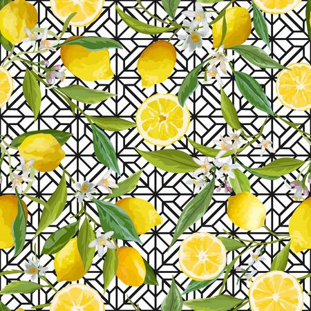 Seamless Pattern. Lemon Fruits Background. Floral Pattern. Flowers, Leaves, Lemons Background. Vector Background.  イラスト・ベクター素材