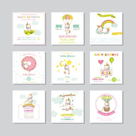 Babyparty-Karte. Ankunfts-Baby-Karte. Baby-Einhorn-Mädchen. Vector Set. Standard-Bild - 58941221