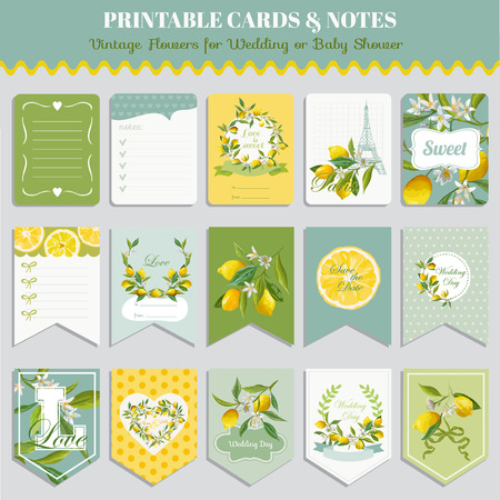 Vintage Lemon Flowers Card Set. Birthday, Wedding, Baby Shower Tags. Vector Design. Summer Illustration. Vettoriali