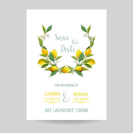テーマを保存、日付 - 結婚式招待状やお祝いカード セット - レモン - ベクトルで  イラスト・ベクター素材