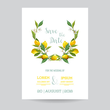 Save the Date - Wedding Invitation or Congratulation Card Set - Lemon Theme - in vector