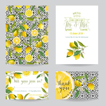 lemon: Save the Date - Wedding Invitation or Congratulation Card Set - Lemon Theme - in vector