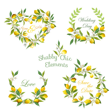 Lemons, Flowers, Leaves Banners and Tags. Floral Wreath. Vector Set.
