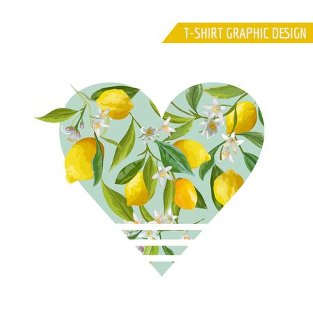 Lemon Fruits Graphic Design. T-Shirt Fashion Prints. Vector Background. Ilustracja