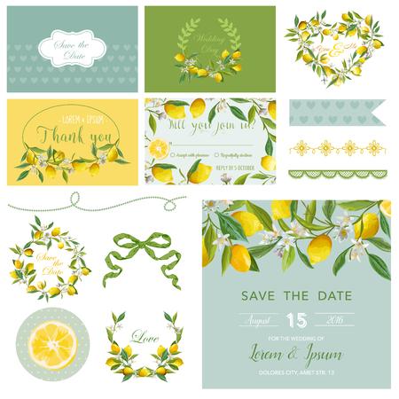Scrapbook Design Elements. Wedding Summer Flower Set. Lemon Tags. Vector Illustration. Vectores