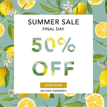 Summer Sale Banner. Sale Background. Big sale. Lemon Sale Poster. Vector Illustration. 50 % off