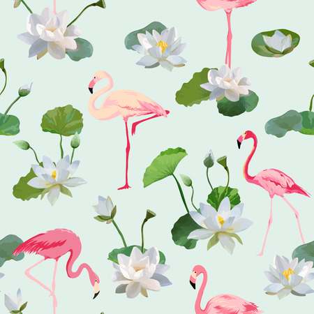 waterlily: Flamingo Bird and Waterlily Flowers Background. Retro Seamless Pattern. Vector Texture.