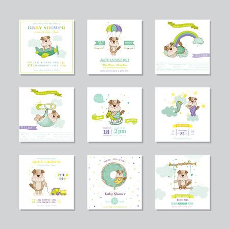Tarjeta de Baby Shower. Tarjeta de llegada del bebé. El muchacho del bebé del perro. Conjunto de vectores.