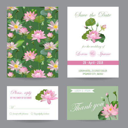 waterlily: Wedding Invitation. Congratulation Card Set. Save the Date. Waterlily Leaves and Flowers. Vector Postcards.