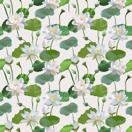 waterlily: Vintage Waterlily Flowers in Watercolor Style. Seamless Background Pattern in Vector Illustration