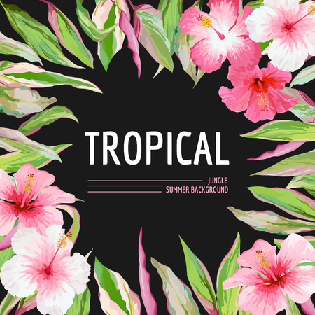 exotic flowers: Palm Leaves and Tropical Flowers Background. Graphic T-shirt Design in Vector