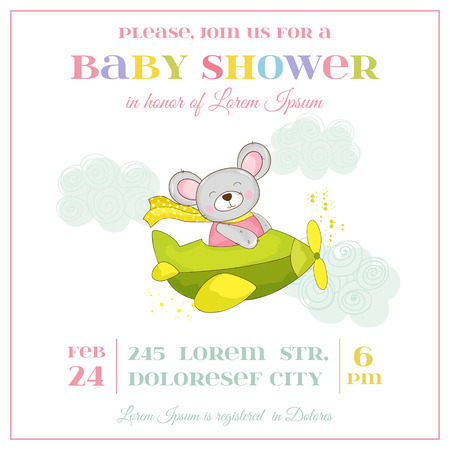 arrival: Baby Shower or Arrival Card - Baby Mouse Girl - in vector