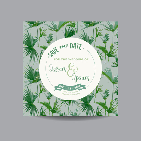 date palm: Save the Date Card. Tropical Palm Leaves. Wedding Invitation Card. Vector Illustration