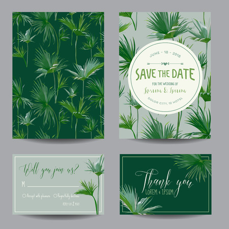 rsvp: Save the Date Card. Tropical Palms Leaves. Wedding Invitation Card. RSVP. Vector