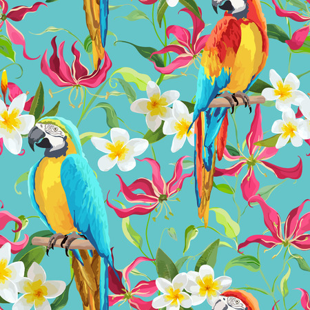 Tropical Flowers and Parrot Bird Background - Fire Lily Flowers - Seamless Pattern in Vector