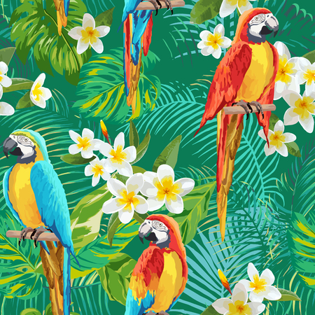 tropical flowers: Tropical Flowers and Birds Background - Vintage Seamless Pattern - in vector