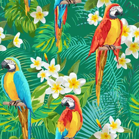 Tropische bloemen en vogels Achtergrond - Vintage naadloze patroon - in vector