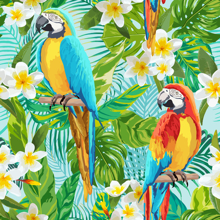 retro pattern: Tropical Flowers and Birds Background - Vintage Seamless Pattern - in vector