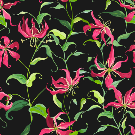 lily flowers: Tropical Leaves and Floral Background - Fire Lily Flowers - Seamless Pattern in Vector