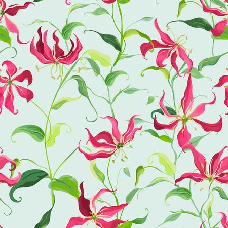 motif floral: Feuilles tropicales et fond floral - feu Lily Fleurs - Motif continu dans Vector Illustration