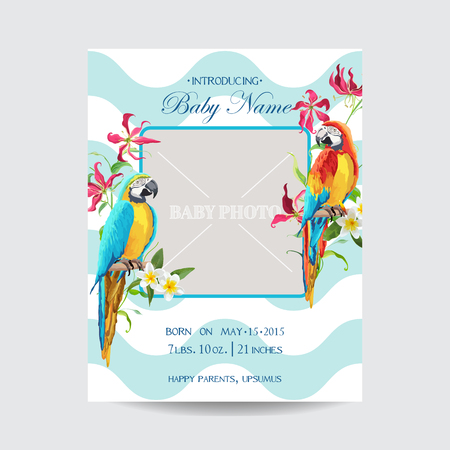 photo frames: Baby Arrival Card with Photo Frame - Tropical Flowers and Parrot Bird Theme - in vector