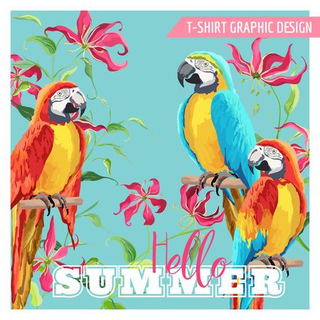 Tropical Graphic Design. Parrot uccelli e fiori tropicali. Moda Stampe T-shirt. Vector Background.
