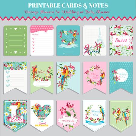열대 꽃과 앵무새 새 카드 세트. 생일, 결혼식, 베이비 샤워 태그. 벡터 디자인. 여름 그림입니다.
