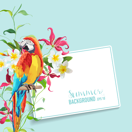tropical flower: Tropical Flowers and Leaves, Parrot Bird Graphic Design. Wedding Invitation. Vector Card.