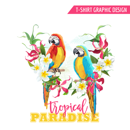 tropical flowers: Tropical Graphic Design. Parrot Bird and Tropical Flowers. T-shirt Fashion Print. Vector Background.