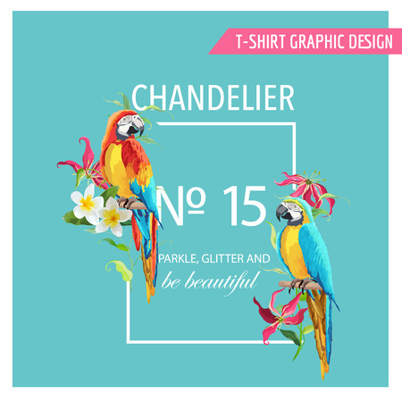 green parrot: Tropical Leaves, Flowers and Parrot Birds Background. Graphic T-shirt Design in Vector