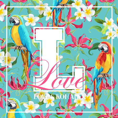 Vintage Tropical Leaves, Flowers and Parrot Bird Graphic Design - for T-shirt, Fashion, Prints - in Vector