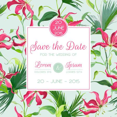Sparen Sie das Datum, Einladung, Glückwunsch-Karte - für Hochzeit, Baby-Dusche - tropische Blumen und Blätter - in Vektor Standard-Bild - 60909321