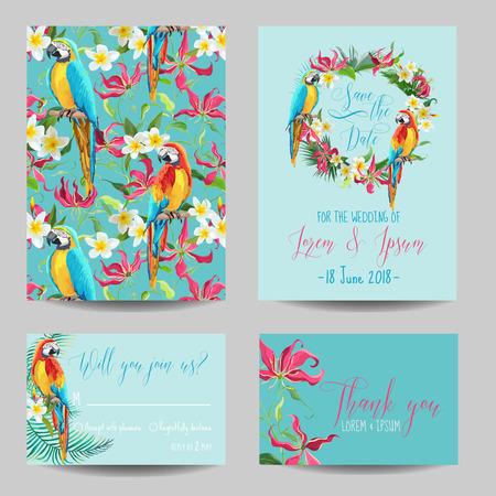 Ahorre la tarjeta de fecha - flores tropicales y aves - para la boda, invitación, Partido - en el vector