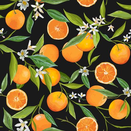 Seamless Pattern. Orange Fruits Background. Floral Pattern. Flowers, Leaves, Fruits Background. Vector Vector Illustration