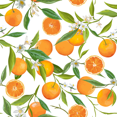 Seamless Pattern. Orange Fruits Background. Floral Pattern. Flowers, Leaves, Fruits Background. Vector