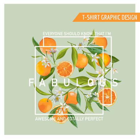 Floral Graphic Design. Orange Background. T-shirt Fashion Print. Vector Card.