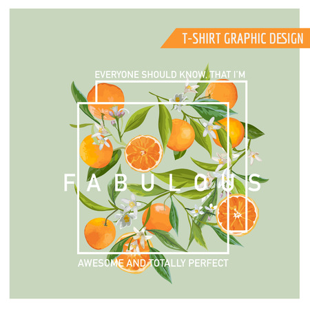Floral Graphic Design. Orange Background. T-shirt Fashion Print. Vector Card.