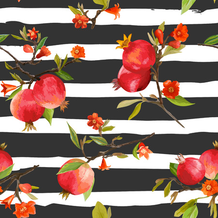Naadloos Patroon. Granaatappel tropische achtergrond. Bloemenpatroon. Bloemen, bladeren, vruchten. Vector Vector Illustratie