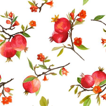 Seamless Pattern. Pomegranate Tropical Background. Floral Pattern. Flowers, Leaves, Fruits. Vector Vettoriali