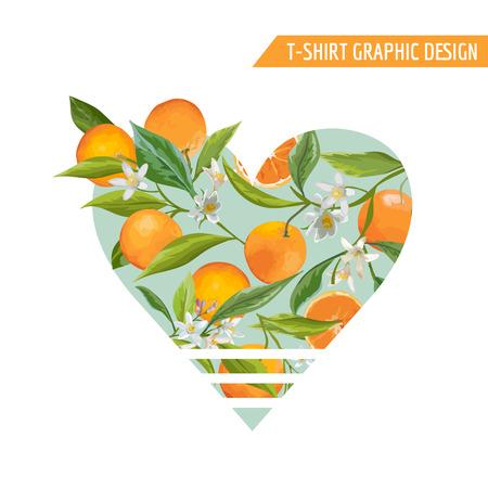 Orange Fruits Graphic Design. T-Shirt Fashion Prints. Vector Background.