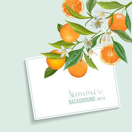 Arance e fiori carta. Frutta Sfondo. Invito a nozze. Vettore carta.