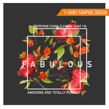 graphic background: Floral Graphic Design. Pomegranate Background. T-shirt Fashion Print. Vector Card.