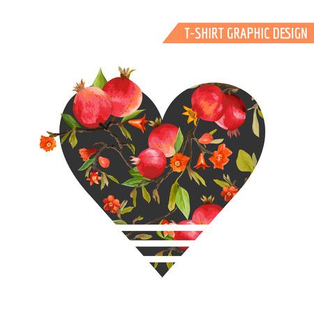 eslogan: Las flores tropicales y follajes, frutas granada diseño gráfico. Camiseta impresiones Moda. Antecedentes del vector.