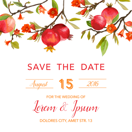 etched: Wedding Invitation Card - with Pomegranates and Flowers Background - Save the Date - in vector