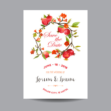 happy wedding: Save the Date. Wedding Card.  Tropical Flowers and Pomegranates. Vector Floral Background.